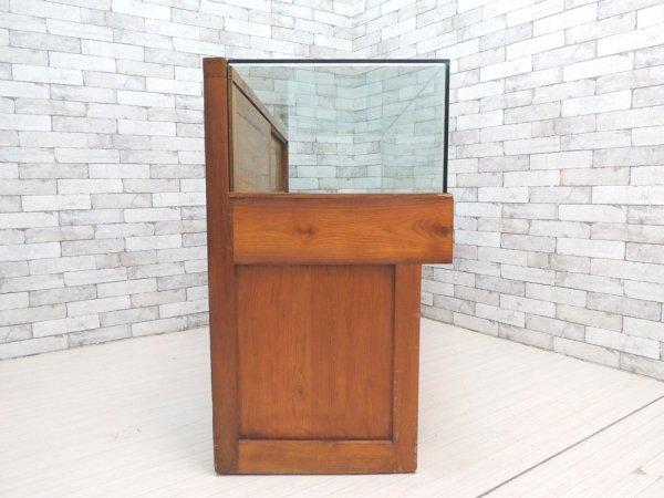 ビンテージスタイル Vintage Style ガラスショーケース ディスプレイケース ショップカウンター 飾り棚 アジアンチーク レトロ ●