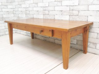 ビンテージ Vintage パイン材 古い木味のローテーブル センターテーブル 抽斗付き カントリースタイル ●