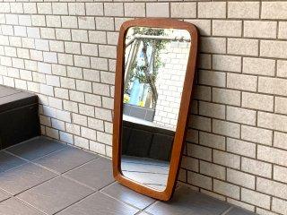 北欧ビンテージ Scandinavian Vintage チーク材フレーム ウォールミラー 壁掛け 鏡 ■