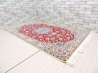 高級 ペルシャ絨毯 イラン メダリオン ラグマット 210×126cm ●