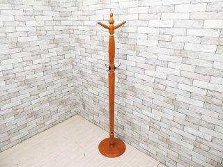ヨーロピアンクラシカルデザイン 木製 コートハンガー ポールハンガー フック付き H181cm ●