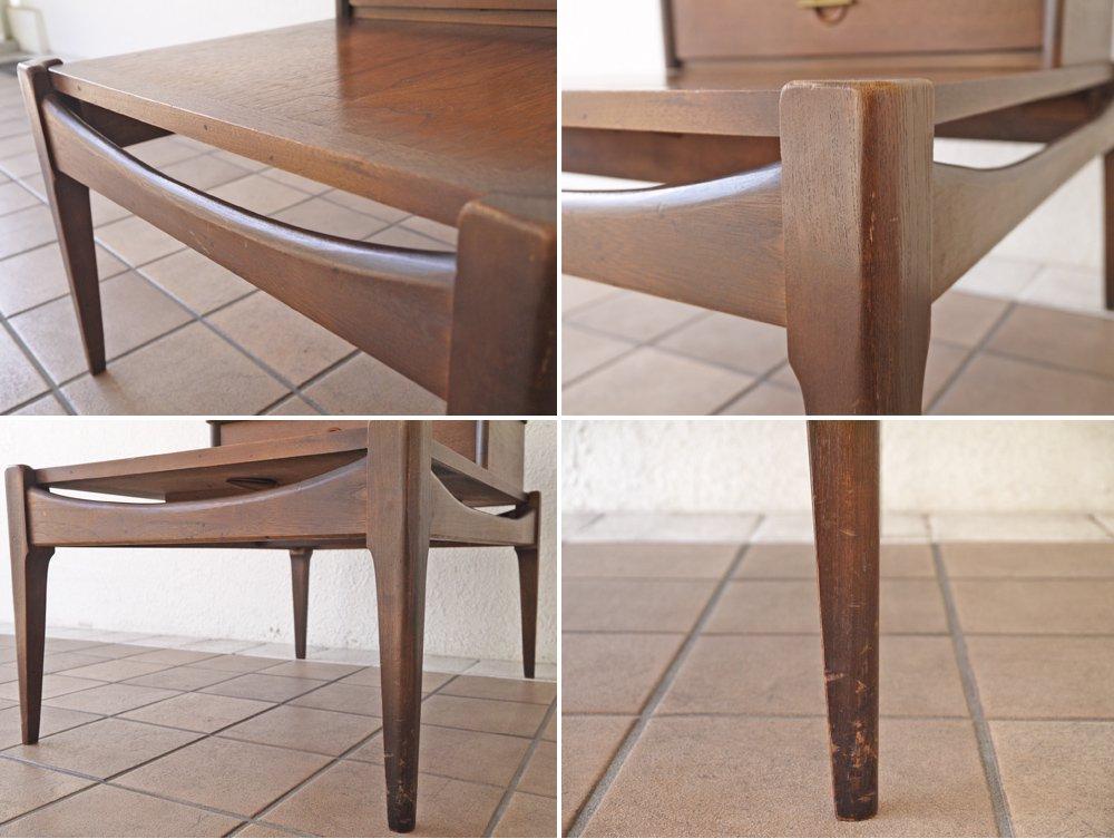 バセットファニチャー Bassett Furniture ウォールナット材 ステップエンドテーブル サイドテーブル USビンテージ ミッドセンチュリー ◇
