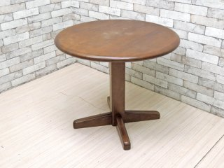カリモク karimoku オーク材 ラウンドテーブル Φ80cm カフェテーブル ブラウン クラシカルデザイン ●