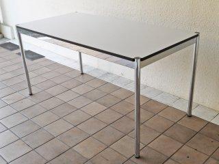 USMモジュラーファニチャー USMハラー USM Haller ワーキングテーブル カンファレンステーブル ダイニングテーブル W150cm ホワイトラミネート天板 高さ調整リング付き ◇