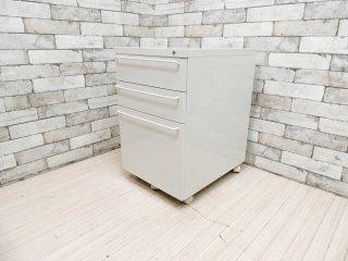 無印良品 MUJI スチール デスクキャビネット デスクワゴン ライトグレー バーハンドル キャスター付 定価:\22,900- A ●