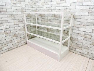 シャビーシック オープンシェルフ ホワイト ガラス ディスプレイラック フレンチカントリー B ●