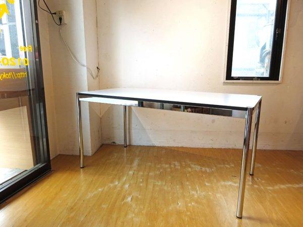 ハラーシステム USM Haller ハラーテーブル カンファレンス ワーキングテーブル ダイニングテーブル 幅150cm アジャスター 高さ調整機能付き ホワイト ★