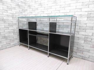 USMモジュラーファニチャー USMハラーシステム 3列3段 エクステンションシェルフ×1 ガラス棚板×3 ガラス天板 キャビネット ブラック 特注品 ●