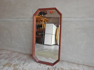 ビンテージ Vintage チーク無垢材 ウォールミラー 鏡 八角形 H64cm ♪