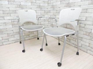 ハーマンミラー Herman miller ケイパーチェア CAPER Chair フレックスネット メタリックシルバー ジェフ・ウェバー 2脚セット 合計定価¥136,400- A ●