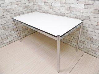 USMモジュラーファニチャー USM Haller USMハラーテーブル ワーキングデスク ダイニングテーブル W150 アジャスター 高さ調整リング付き ホワイト モダンデザイン B ●