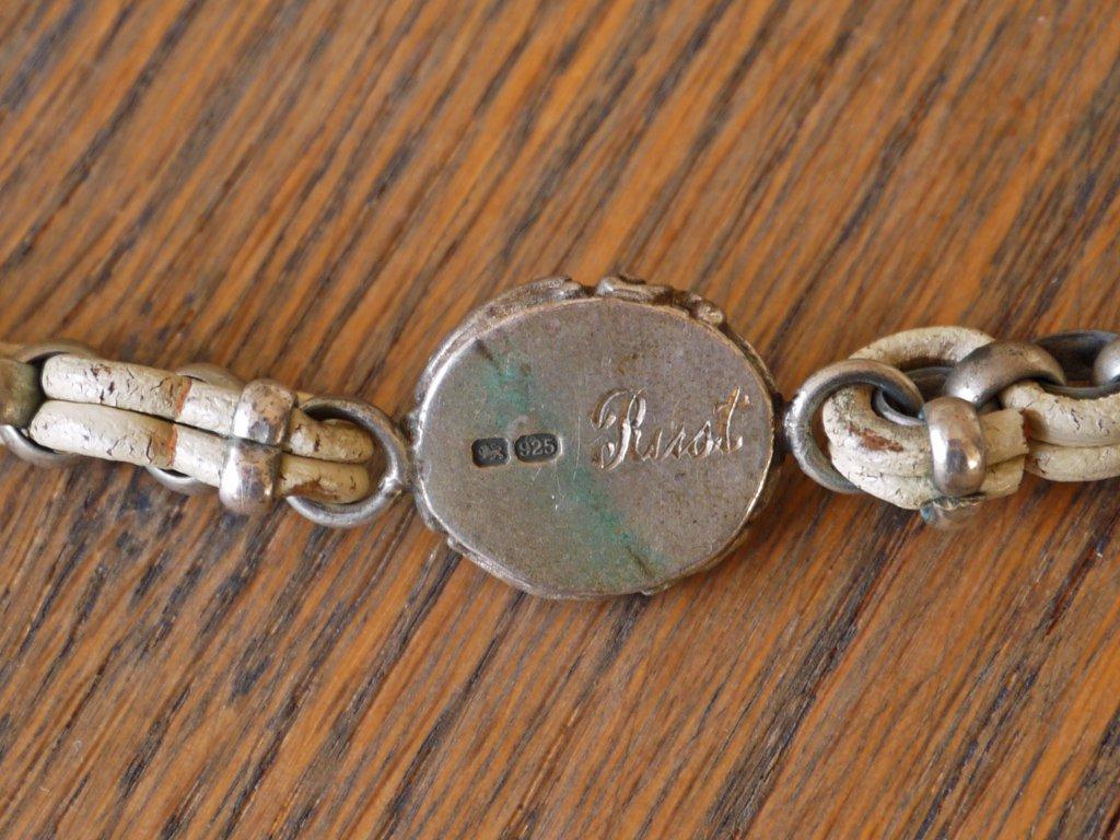 ラスト メイド イン イングランド Rust made in England ラスト ロンドン RUST LONDON カメオブレスレット スターリングシルバー レザー UKアクセサリー ◇