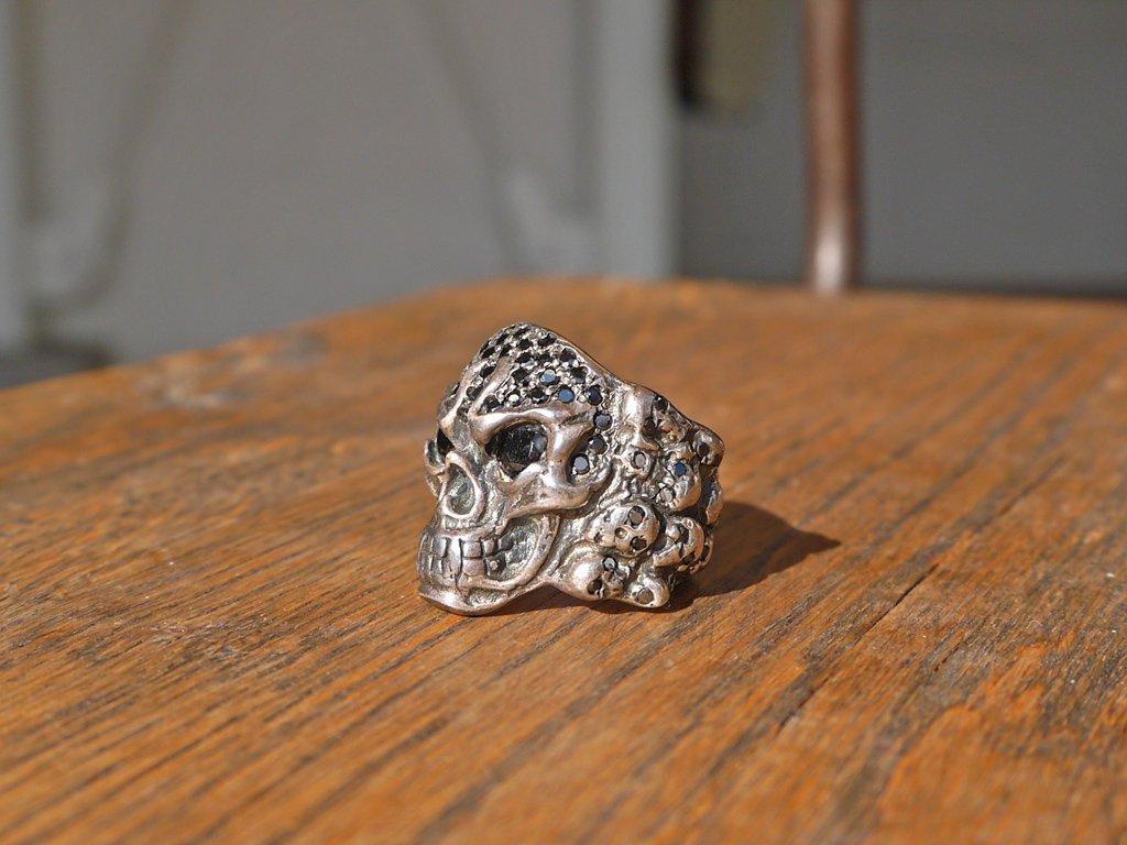 スカルリング Skull ring スターリングシルバー ブラック ストーン ◇