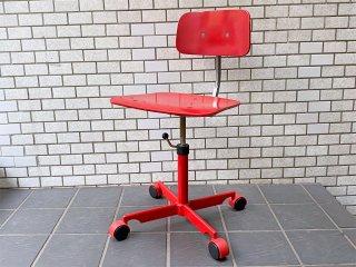 Kettel&Villadsen ケヴィチェア KEVI Chair 4本脚 レッド ヨルゲン・ラスムセン ビンテージ デスクチェア キャスターベース 北欧 デンマーク ■