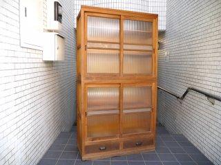 ジャパンビンテージ 水屋箪笥 食器棚 カップボード 波ガラス 引き戸 抽斗2杯 古家具 木味 ■