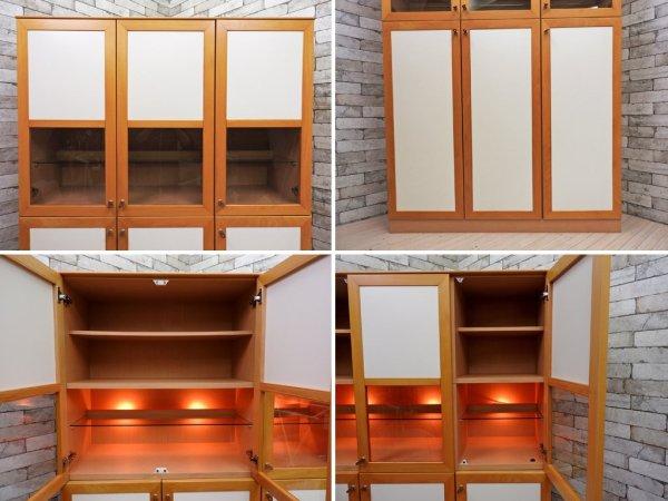 IDC大塚家具 ビーチ材 照明付き ダイニングボード 本棚 キュリオケース 食器棚 飾り棚 コレクションケース W120cm ナチュラルモダンデザイン ●
