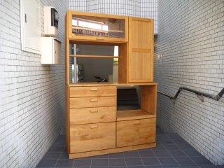 モモナチュラル momo natural ヴィボ VIBO キッチンボード KD BOARD WIDE カップボード 食器棚 アルダー材 定価14万 ■