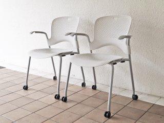 ハーマンミラー Herman miller ケイパーチェア CAPER Chair 成形シート アーム付 メタリックシルバー ジェフ・ウェバー 2脚セット 合計定価¥96,800- A ◇