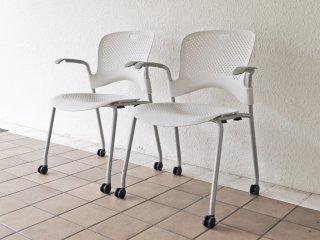 ハーマンミラー Herman miller ケイパーチェア CAPER Chair 成形シート アーム付 メタリックシルバー ジェフ・ウェバー 2脚セット 合計定価¥96,800- B ◇