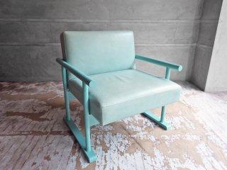 クラスカ interior & furniture CLASKA  クロッグスソファ ペイント Clogs Sofa Paint オーク材 本革 薄青色 岡嶌要デザイン ♪