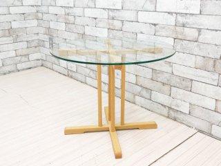 ホテル クラスカ Hotel CLASKA オーダーメイド ガラストップサイドテーブル ナチュラル 岡嶌要デザイン ●