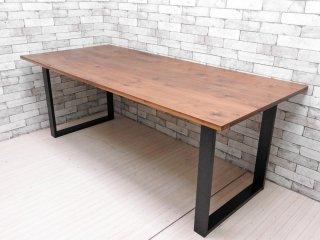 いまだ Craft Furniture IMADA クーパー Cooper ウォールナット無垢材 × アイアン脚 ダイニングテーブル W199cm インダストリアル 府中家具 ●