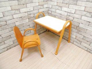日進木工 NISSIN n-kids キッズ テーブル&チェア KIT-012 KIC-002 2点セット ブナ材 メラミントップ 定価65,880円 ●