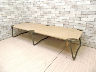 フランス軍 70'sビンテージ 野営コット Field cot Bed 折り畳みベッド キャンバス 麻布 インダストリアル ミリタリー ●