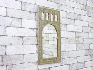 モロッコ製 モスク ウォールミラー 壁掛け 鏡 シルバー オリエンタル アラビアンスタイル ●