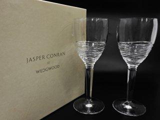 ウェッジウッド WEDGWOOD ジャスパーコンラン JASPER CONRAN クリスタル ワイングラス ペア 元箱付 英国 ●