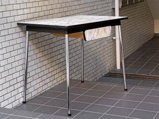 オランダ 60's ビンテージ  ダイニングテーブル  メラミントップ天板 マーブル柄 ダッチデザイン ■