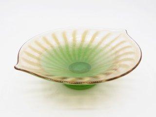 巳亦敬一 硝子 鉢 ボウル 台付 グリーン 吹きガラス 現代作家 ●