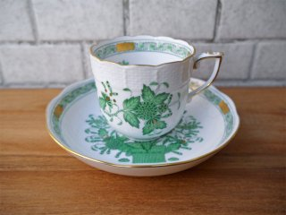 ヘレンド HEREND HVNGARY インドの華 コーヒーカップ&ソーサー ハンドペイント 白磁食器 ハンガリー 極美品 A ■