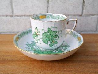 ヘレンド HEREND HVNGARY インドの華 コーヒーカップ&ソーサー ハンドペイント 白磁食器 ハンガリー 極美品 B ■