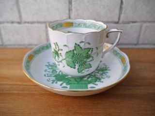 ヘレンド HEREND HVNGARY インドの華 コーヒーカップ&ソーサー ハンドペイント 白磁食器 ハンガリー 極美品 C ■