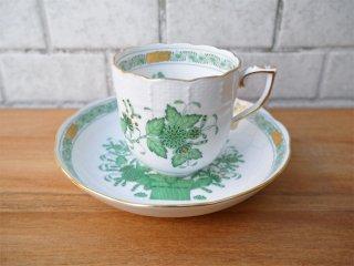 ヘレンド HEREND HVNGARY インドの華 コーヒーカップ&ソーサー ハンドペイント 白磁食器 ハンガリー 極美品 D ■
