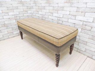 バセットファニチャー Bassett Furniture ツイストレッグ ベンチ ファブリック チェック柄 クラシックスタイル ●