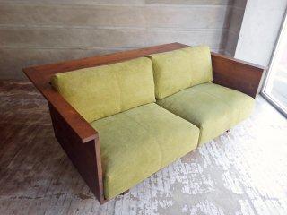 ヒラシマ HIRASHIMA カラメッラ カウンターソファ CARAMELLA Counter Sofa 189 Kaplis water lily ウォールナット無垢材 定価 \462,000- ♪