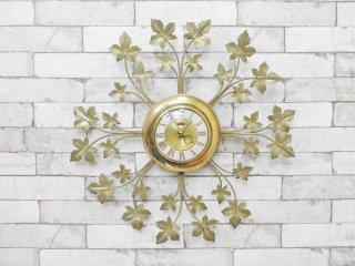 USビンテージ ユナイテッド社製 UNITED リーフモチーフ 壁掛け 時計 ウォールクロック ゴールドメタル 1960年代 ●