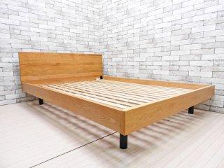 無印良品 MUJI ダブルサイズ ベッドフレーム オーク無垢集成材 W148cm ヘッドボード付 ナチュラルスタイル ●