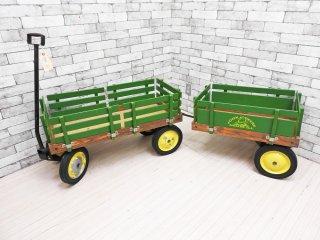 ジョンディア JOHN DEERE 木製カート ステークワゴン Stake Wagon 2連 インダストリアル アクメ取扱 USビンテージ ガーデニング 子供玩具 ●