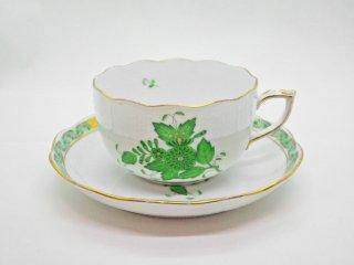 ヘレンド HEREND HVNGARY インドの華 ティーカップ&ソーサー C&S ハンドペイント 白磁食器 ハンガリー ♪