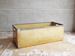 ビンテージ Vintage ファイバーボード製 収納ボックス ケース W76cm インダストリアル ♪