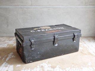 UKビンテージ UKVintage スチール製 スチーマートランク Steamer Trunk コンテナ ボックス 収納 汽船 インダストリアル イギリス ♪
