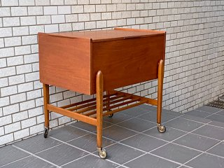 デンマーク ビンテージ ソーイングテーブル キャスターワゴン ブランケットキャビネット チーク材 北欧家具 ■