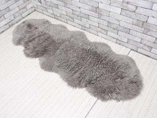 ウィンドワード WINDWARD ムートン シープスキン ラムスキン ラグ 2匹物 羊毛皮100% ダークグレー ●