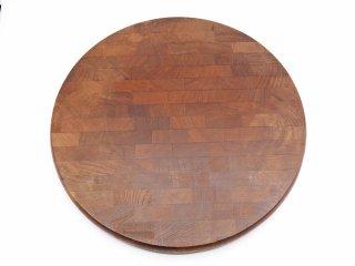 オーク無垢集成材 カッティングボード まな板 チーズボード ブラウンカラー ラウンド Φ35cm ●