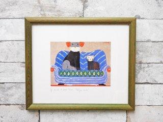 ラウラ・フューメ Laura Fiume 犬と猫 アートポスター 額装品 ●
