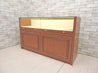 クラシカルモダン サイドボード 飾り棚 ガラスショーケース 鍵&照明付 W150 店舗什器 ●