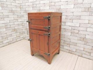 モンブラン MONT BLANC  木製冷蔵庫 氷冷蔵庫 収納棚 日本の古い木味の家具 昭和レトロ ジャパンビンテージ ●